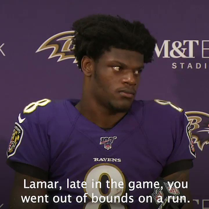 Reporter: ... you got up slow. Did you get banged up little bit or? Lamar Jackson: