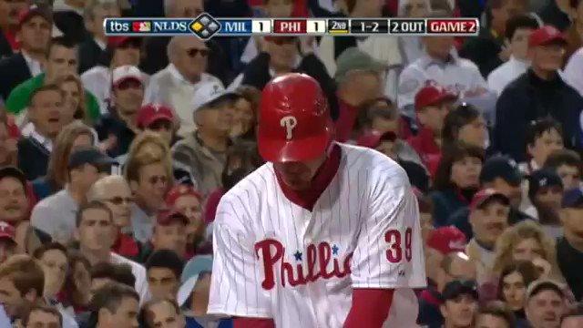 Replying to @2008Philz: 10.2.2008 #NLDS Game 2  Brett Myers works a nine-pitch walk against CC Sabathia