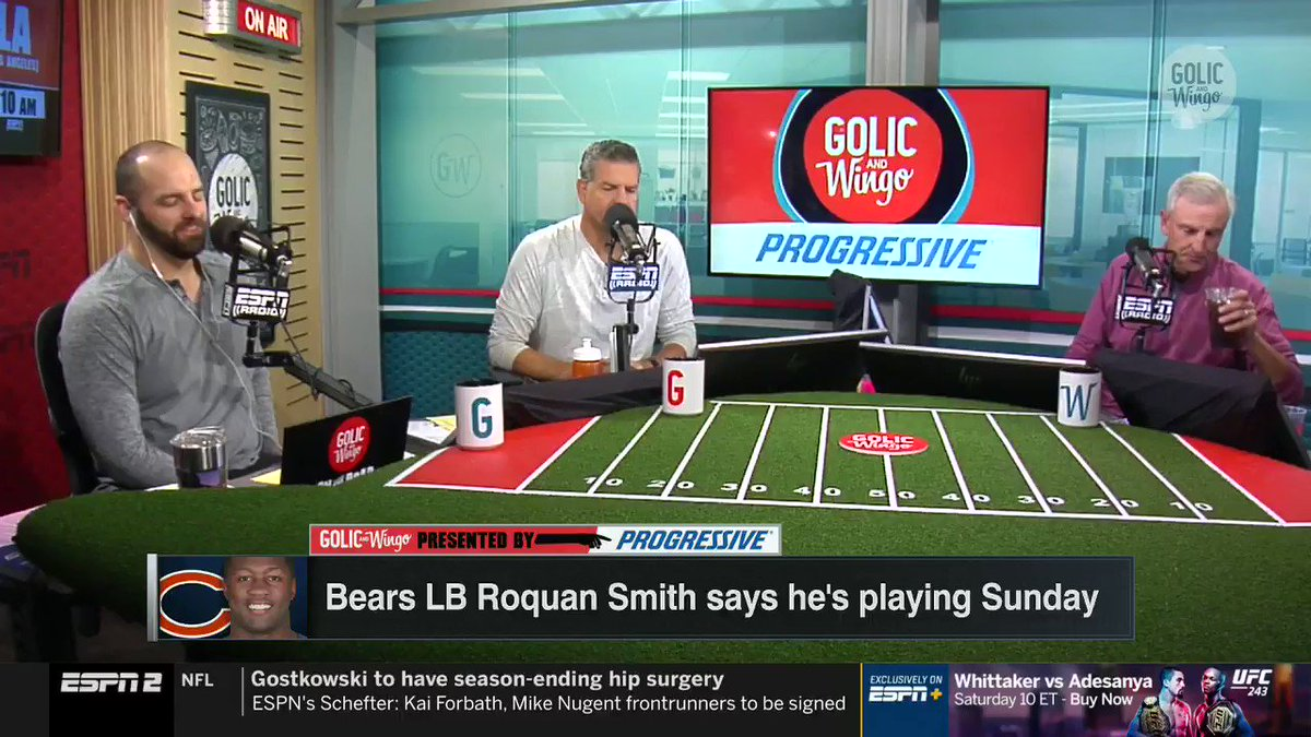 """""""You pay to watch a game for the players who are on the field. That's what you pay for and that's it."""" -@espngolic on fans and media believing they have a right to know what Roquan Smith's personal issues are."""
