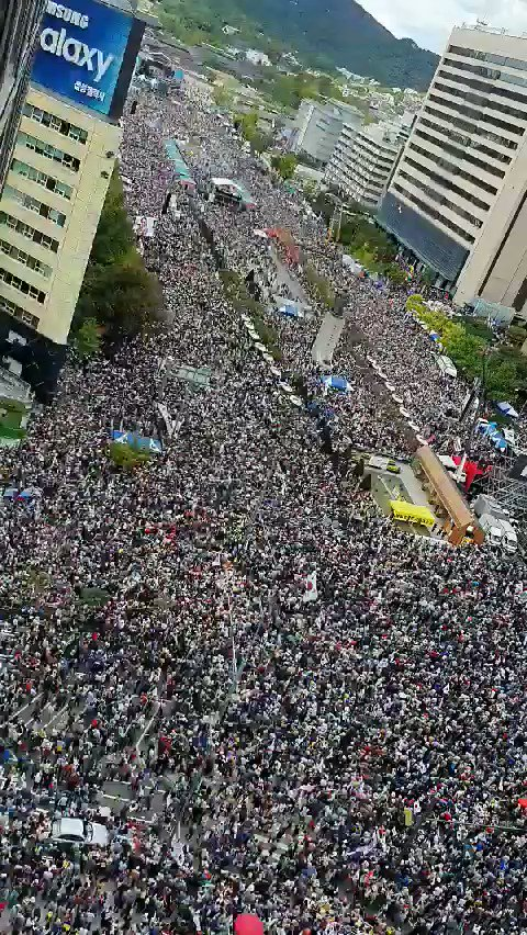 No words. Seoul, South Korea today. Protesting their Justice Minister and President.