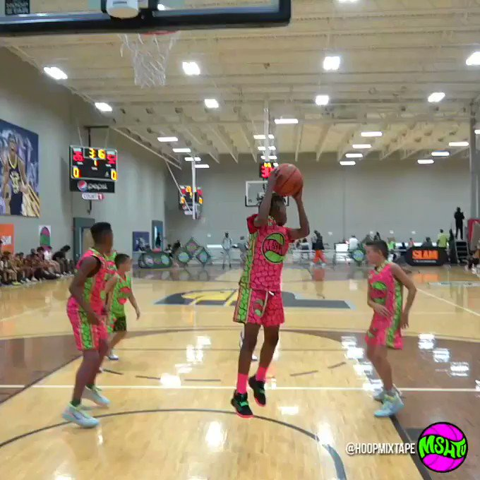 An 11 year old with one of the craziest passes Ive seen this year. Jayden Judah Moore with the halfcourt 180 behind the back at @MSHTVOfficial camp.