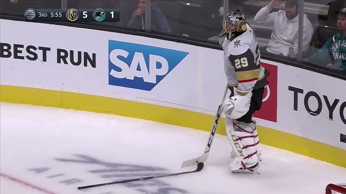 Fleury literally giving away Sharks players sticks through the photography hole after a line brawl 😭😂😂😂