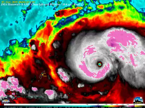 Super Typhoon #Hagibis is now a category 5 monster . This storm has the chance to challenge some of the strongest storms of all time as well as the lowest pressure ever in a TC. The #climatecrisis is here. Act like it. #ActOnClimate #climate #energy #go100re #GreenNewDeal
