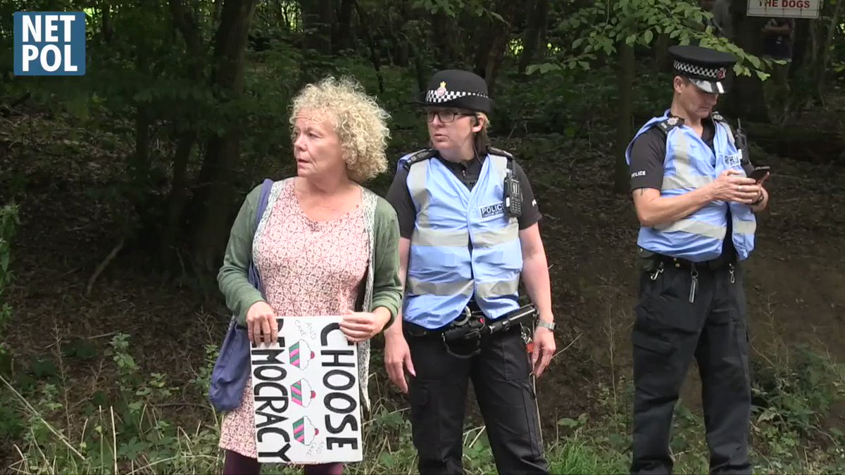If youre in London participating in the #ExtinctionRebellion protests, please remember the Police Liaison Officers in pale blue bibs are primarily in attendance to gather intelligence on your movement - despite what they may claim. See our full film here netpol.org/police-liaison…