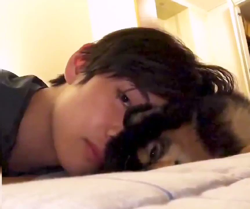 (ano Upchar)  🐯: (whispering) Tan...🐶: 💤 (sleepy)🐯: Tan... Wake up...🐶: 💤 (look up)🐶: 💤 (turn around and keep sleeping)🐯: 💤 (sleep with him too) Taehyung and Tannie cuddling time, the cutest thing ever!#VOnVacation BTS_twt