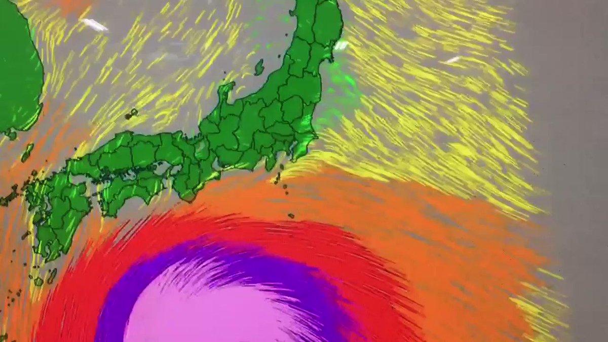 台風の強風予測、長野県だけ山というATフィールドに守られてるのすごい