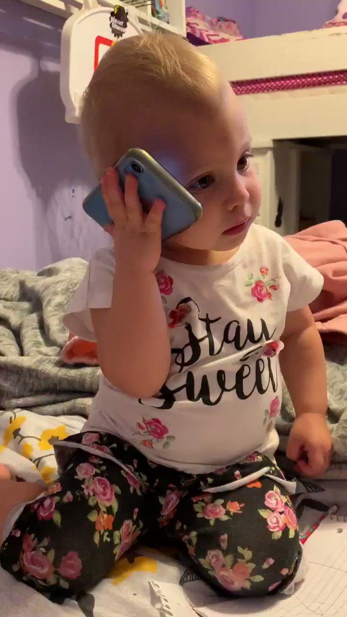 This is my granddaughter, Hattie pretending to call my husband (papa).   Hope this puts a smile on your face. God's blessing! 😃❤️  #FridayMotivation #FridayMorning