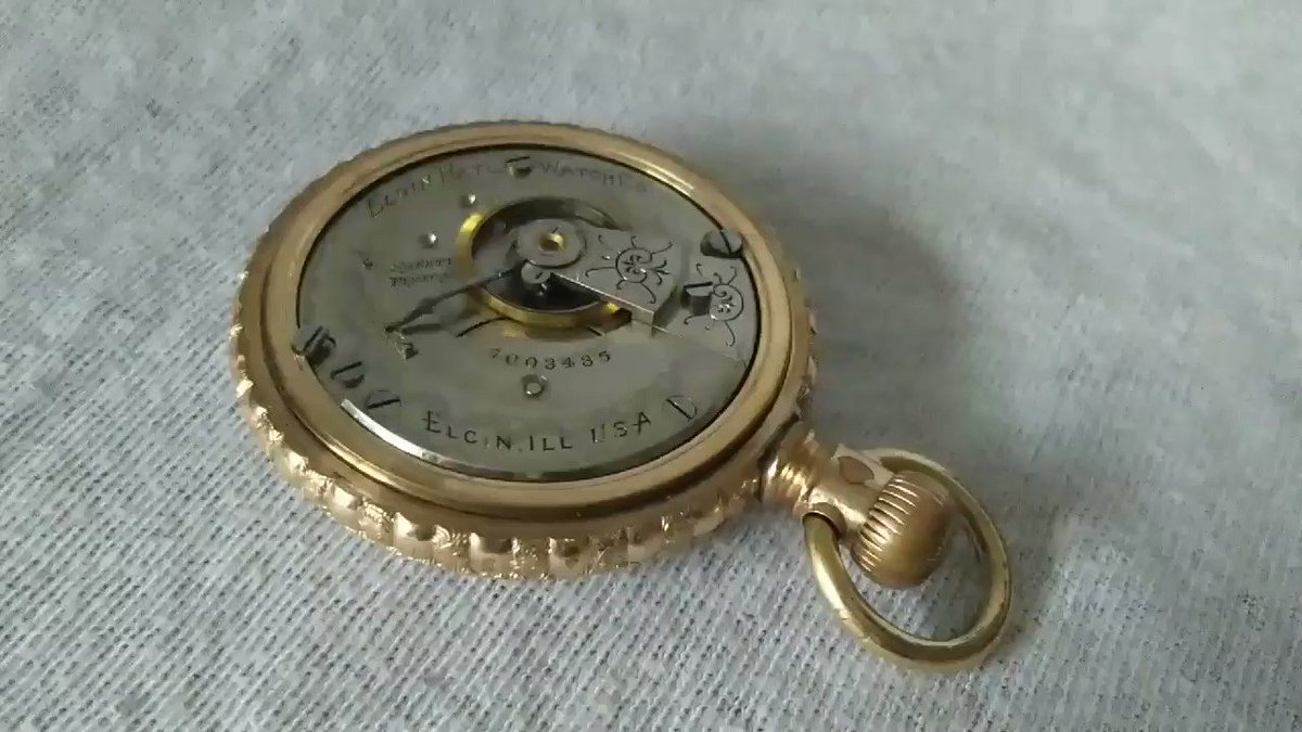 Look at this gorgeous piece of work!! Gold plated Elgin pocket watch!! Works perfectly! #vintagewatch #pocketwatch #antiques #steampunk #USA