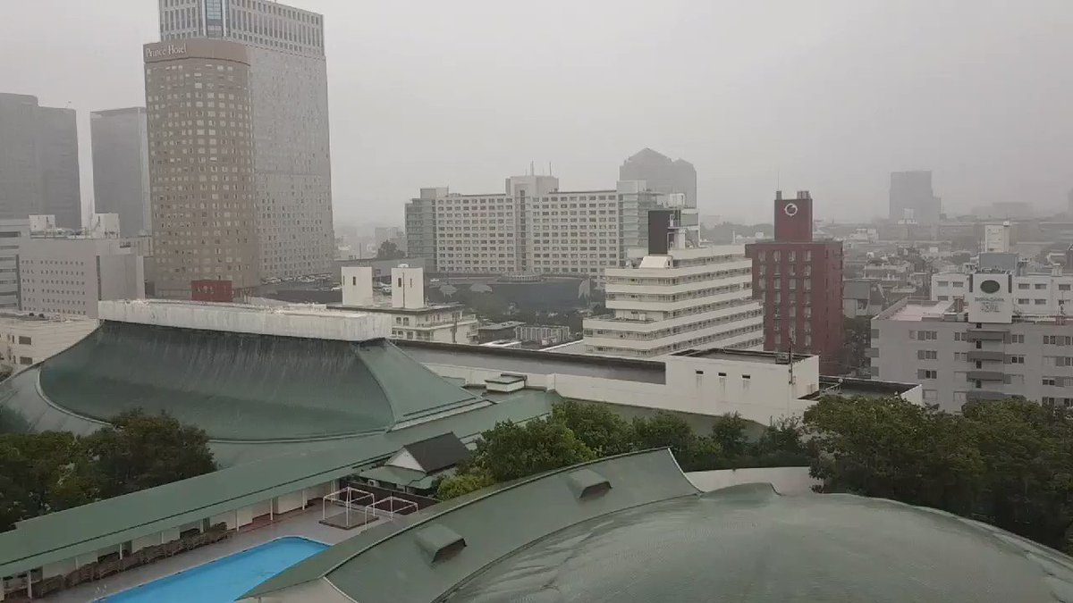 LISTEN: Emergency warning tannoy echoes around the quiet streets of central Tokyo. And we're still 8 hours away from the worst of it ... #TyphoonHagibis