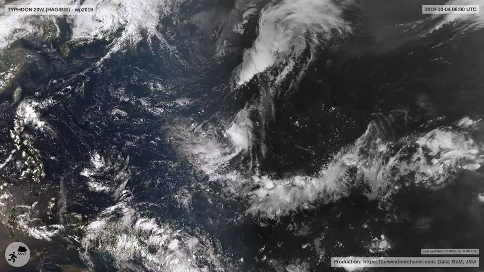 Typhoon #Hagibis has turned more to the NE and the eye with ~150km/h winds is now forecast to arrive at #Tokyo around 9pm tonight local time. An updated full high def version of this video can be found here: theweatherchaser.com/video/wp2019-t… Take care everyone in Japan #TyphoonHagibis