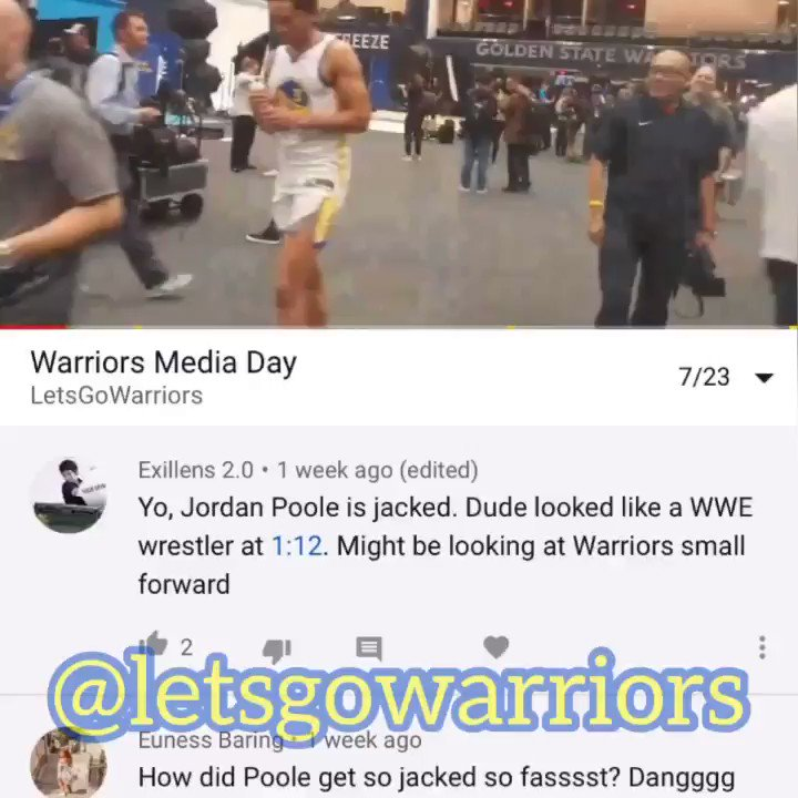 Two wks ago, YouTube commenters asked me a quesrion. Today, I delivered: Yes, Jordan Poole has gained muscle mass. He's now 205 lbs, was 185 lbs at the start of #NBASummerLeague.  FULL (EXCELLENT) Q&A 📺 (7:40) 👇https://youtu.be/4Ei6ZPQrxf0  – at Chase Center