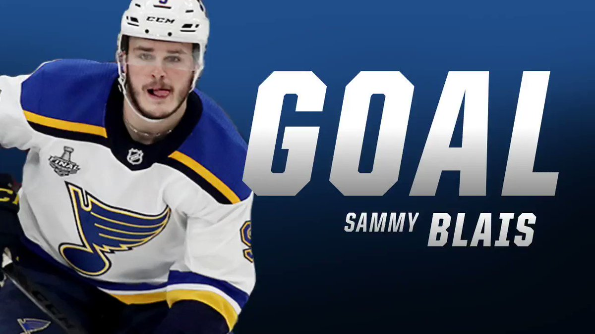 BLUES GOAL!!!! Two busloads of people are going crazy after Sammy Blais ties the game with a ridiculous backhand from a bad angle. 2-2. #stlblues