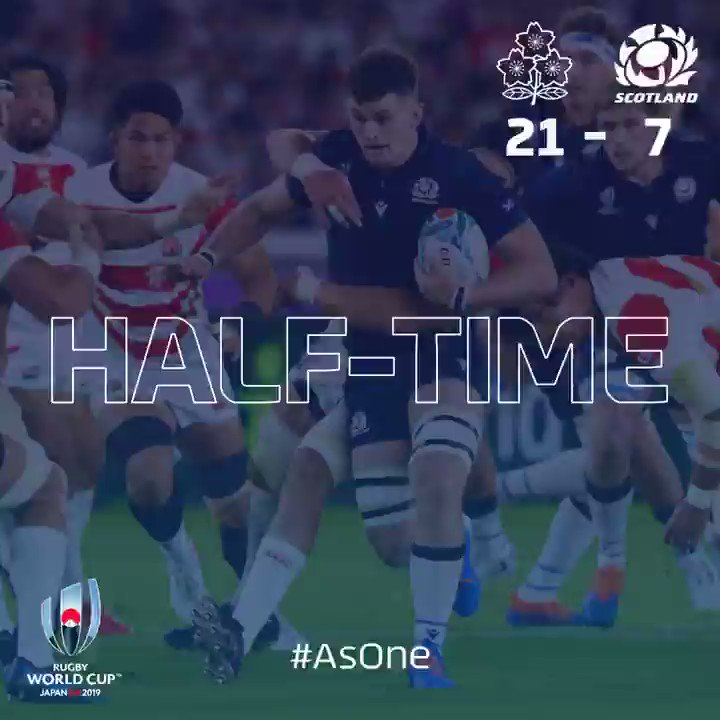 HALF TIME | Scotland have it all to do in the second half to keep their Rugby World Cup campaign alive as Japan score their third try just before the break. #AsOne
