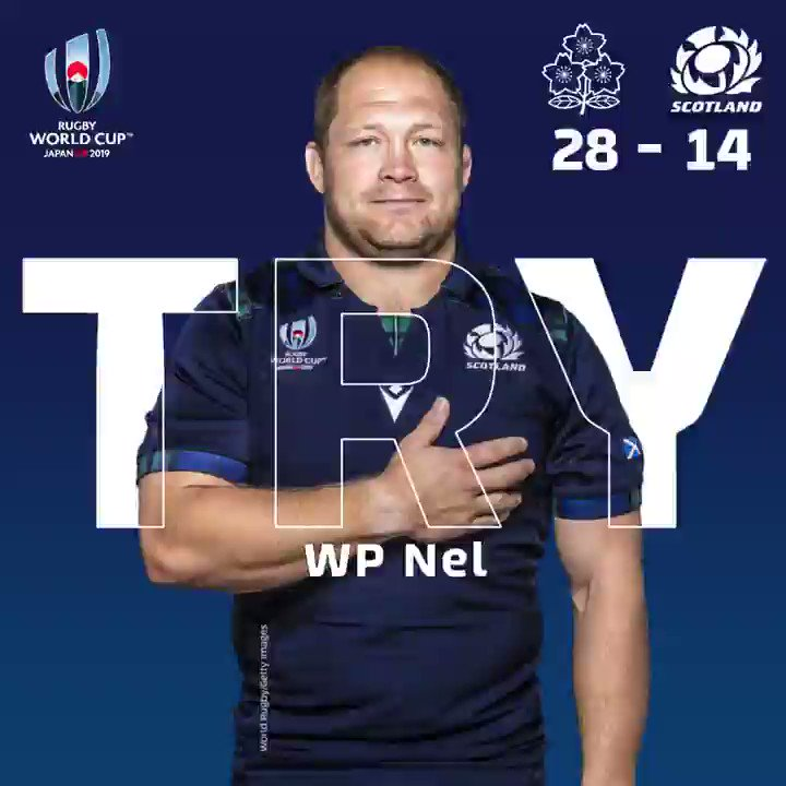 `JPNvSCO | Its WP Nel who buries over the line to get our second try of the night. Laidlaw adds the extras, 28 -14. 📲 Follow the game using our match centre at bit.ly/2IKnqGI