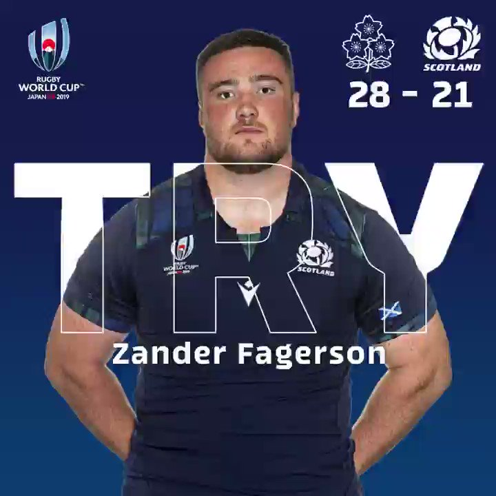 JPNvSCO | Another try! Bradbury, Russell and then Gray all make great breaks and Fagerson is the man to get over the whitewash! Russell takes the conversion. 📲 Follow the game using our match centre at bit.ly/2IKnqGI