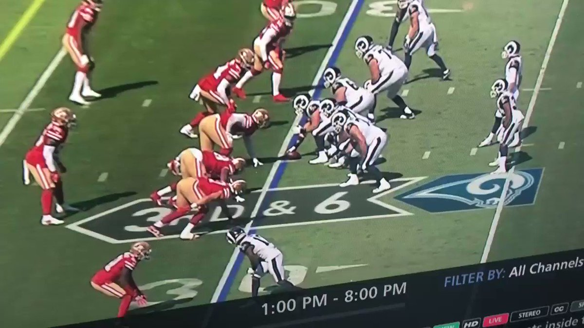 Wow ... Nick Bosa just pushed Andrew Whitworth all the way past Jared Goff and into the ground.