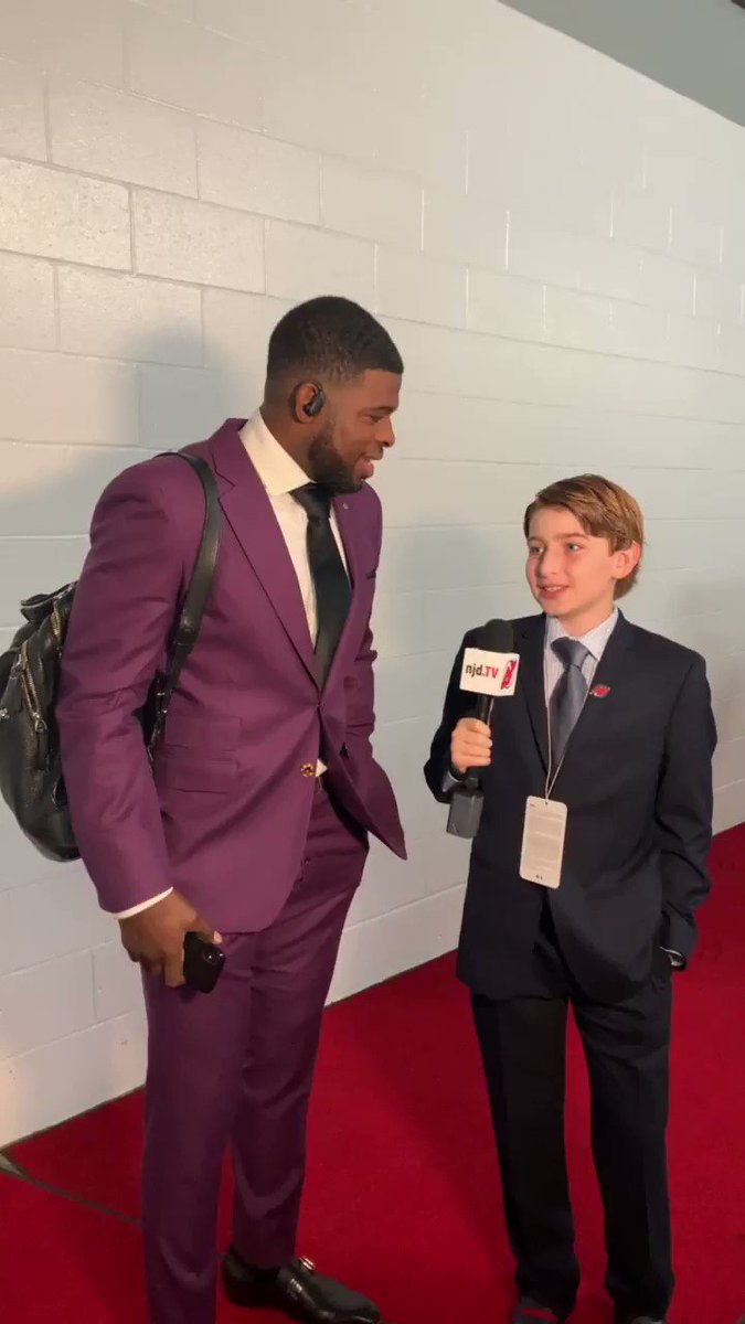 Our #NJDevils kid reporter of the day, Matthew Gershengorn, interviews @PKSubban1 before today's game.