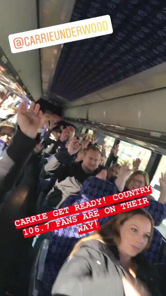 The Country 106.7 bus is packed, ready and on its way to the @ScotiabankArena for @carrieunderwood 💖#CryPrettyTour360