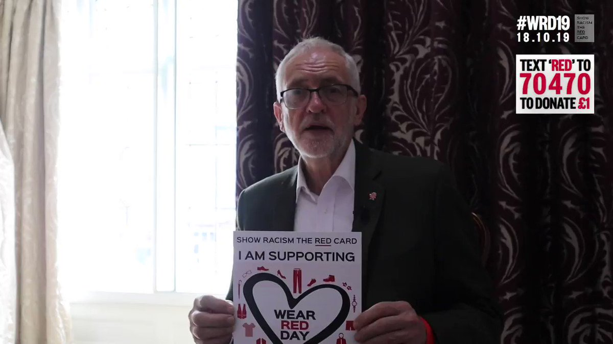 #WRD19: Leader of the opposition @JeremyCorbyn wearing red on Friday for Wear Red Day! Make sure you get involved by registering at theredcard.org/wear-red-day #ShowRacismtheRedCard by wearing red on October 18