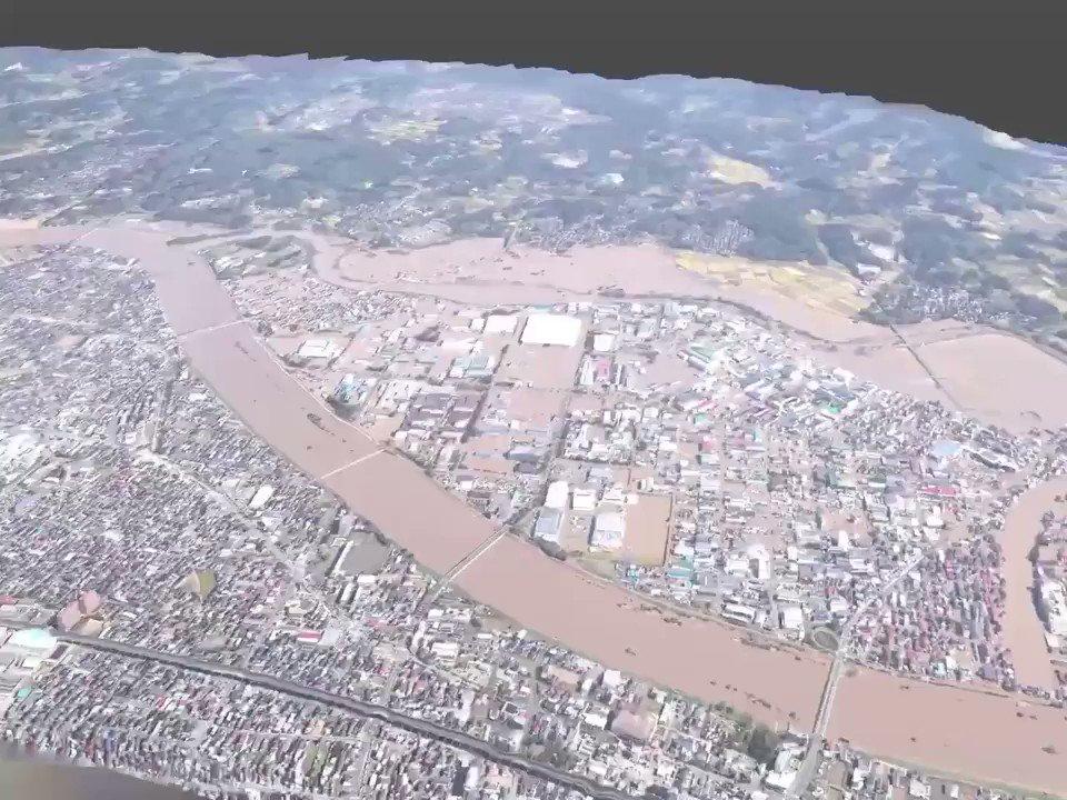 台風19号阿武隈川沿いを3D化してみた。国土地理院で公開された写真203枚から生成。膨大な写真も1つのモデルにする事で広域の状況も確認しやすくなるだろうか。#Photogrammetry