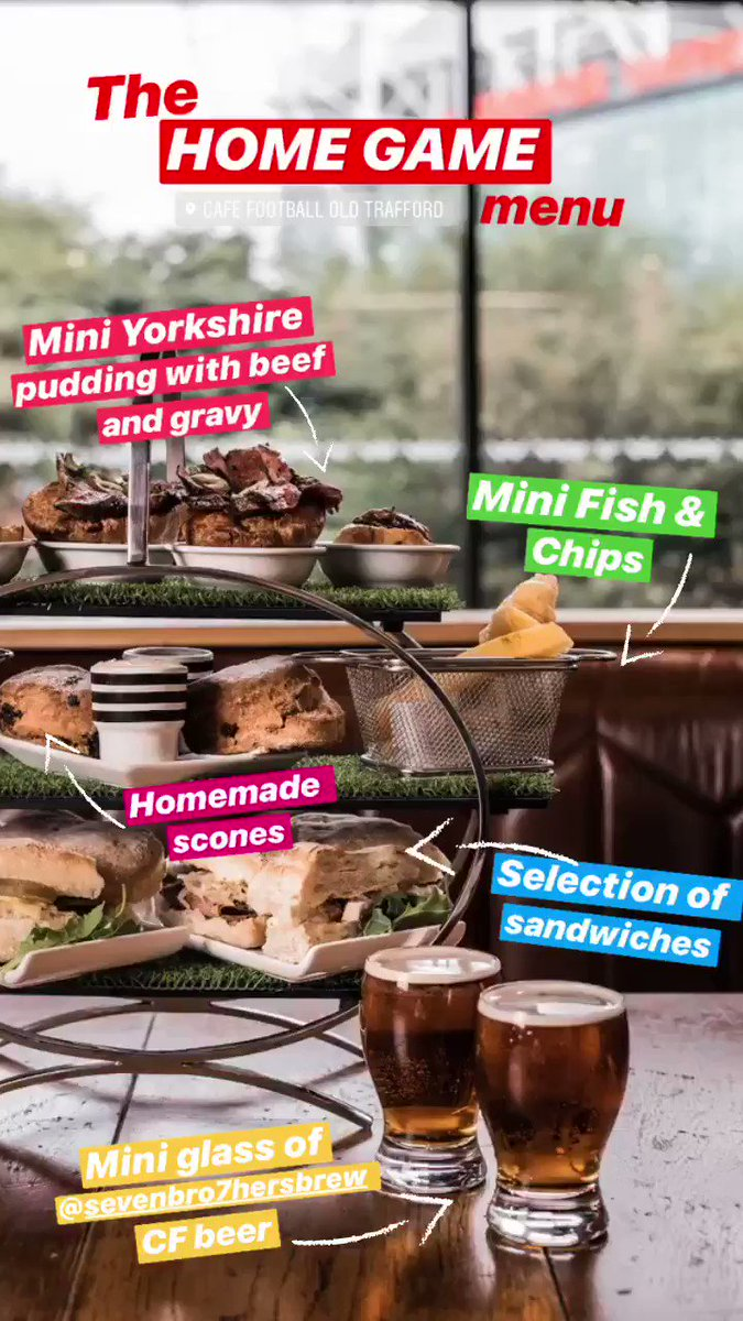 The HOME GAME menu 🤩 Enjoy our new afternoon tea experience in @cafefootballuk overlooking the Theatre of Dreams. To view the full 'Game of Two Halves' menu, click here - hotelfootball.com/event/cf-after…