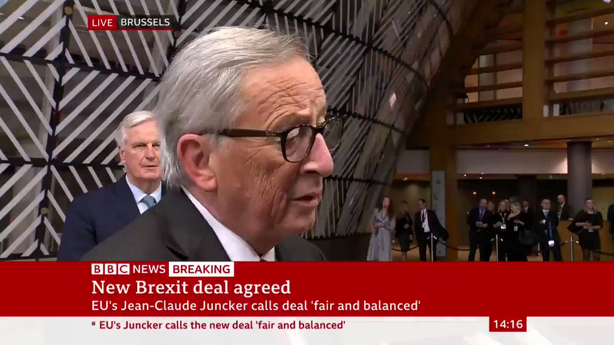 """""""We have a deal so why should we have a prolongation?""""EU Commission President Jean-Claude Juncker says there is no need to extend the Brexit deadline, after UK and EU reach new #BrexitDeal Latest: http://bbc.in/31tpZnq"""