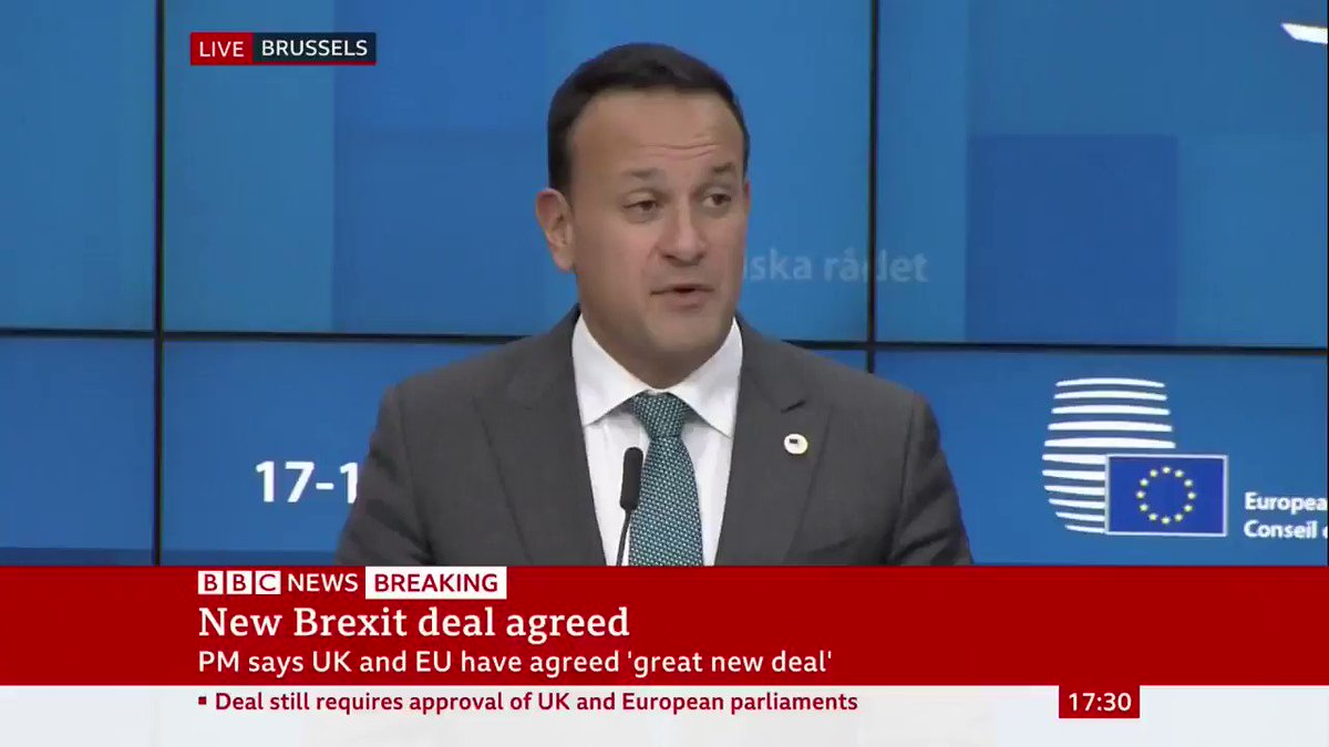 """Irish PM Leo Varadkar says the backstop has been replaced in the revised #BrexitDeal - adding it's a """"unique solution, one that recognises the unique history and geography of Northern Ireland"""" and an agreement that """"could become permanent""""Live updates: http://bbc.in/35Rtjfs"""
