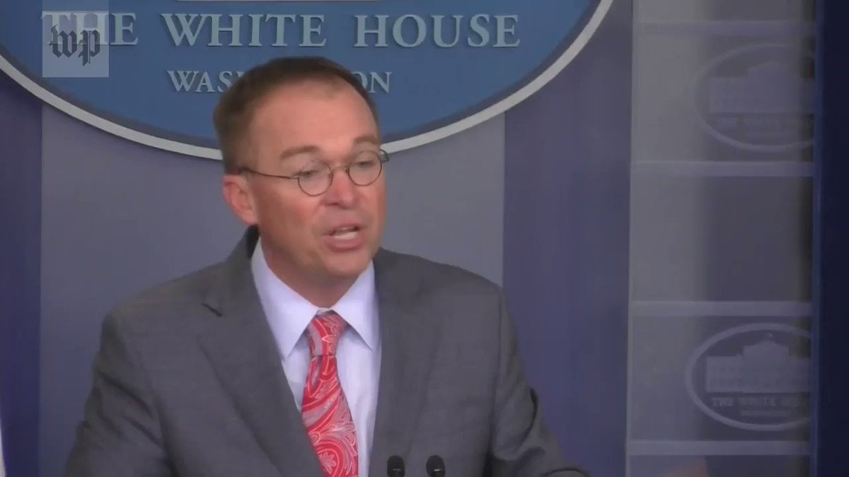 REPORTER: What you just described is a quid pro quo. It is funding will not flow unless the investigation into the Democratic server happened as well. MULVANEY: We do that all the time with foreign policy…Get over it. There is going to be political influence in foreign policy.
