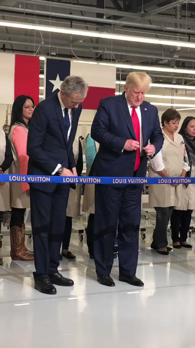 """The @LouisVuitton Trump  ribbon cutting. """"Louis Vuitton...cost me a lot of money over the years"""" said the President."""