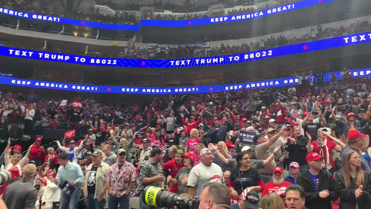 Dallas, Texas crowd is getting ready for @realDonaldTrump  with a little YMCA ‼️