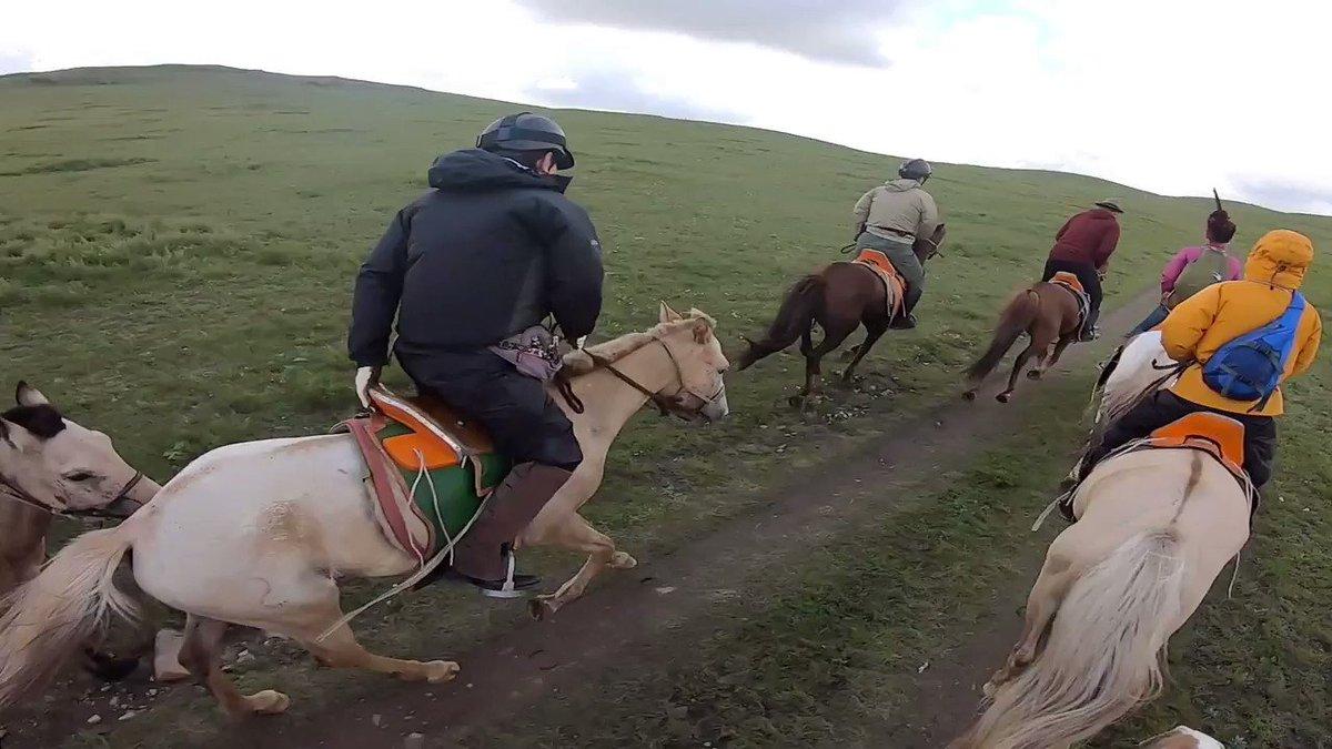 モンゴル乗馬。2019年8月の映像です。たまたま居合わせた馬頭琴の少年少女楽団の演奏に乗って駈けています。長尺版はこちら。 youtu.be/zQrufx_JlHY