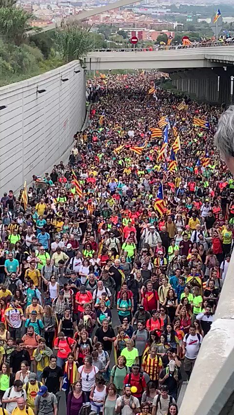 This is dedication. Thousands of people marched miles from 5 other cities to be a part of the protests in Barcelona today.