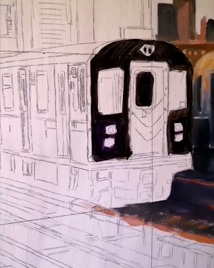 """New painting in progress. Oil on board. Coming soon. :) #inprogress Music: """"I'm Still Here"""" Composed and arranged by Melinda Sütő. #angeliqueart1 #cityscape #urban #train #fineart #oilpainting #contemporaryart #hungarianartist #Budapest #Hungary #hungarian #music #piano"""