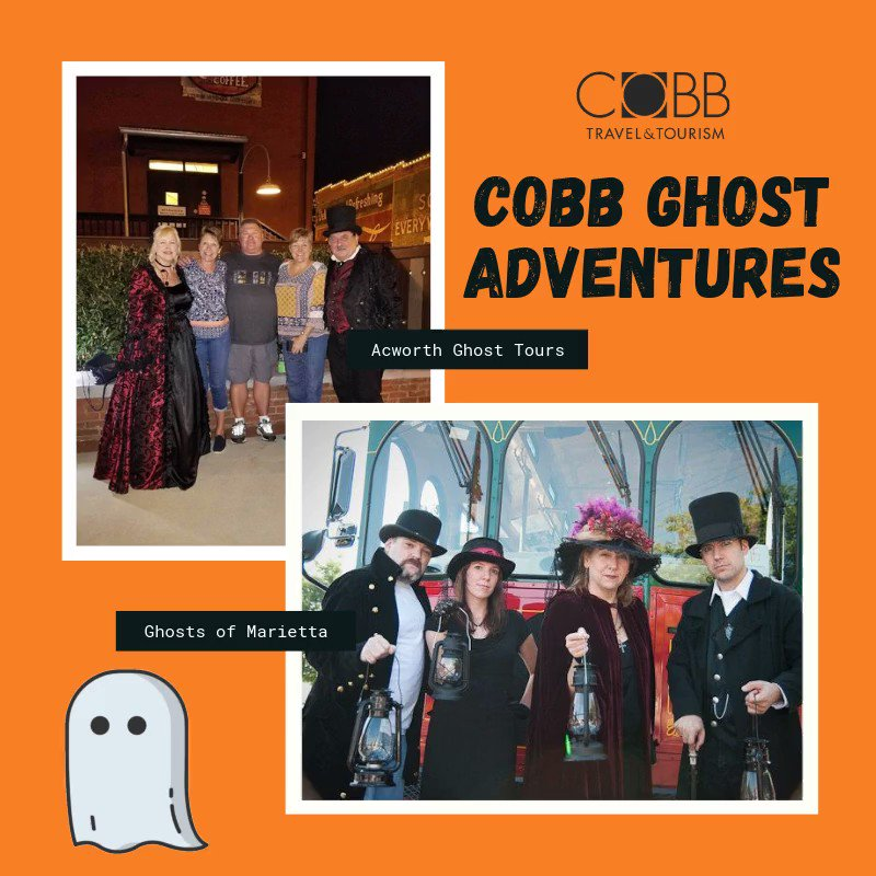 Reserve your spot on a Cobb County ghost tour before it's too late. People are dying 👻 to tag along with Ghosts of Marietta and Acworth Ghost Tours! #AtlantasSweetSpot #Halloween #GhostTours #DiscoverAtl #ExploreGeorgia