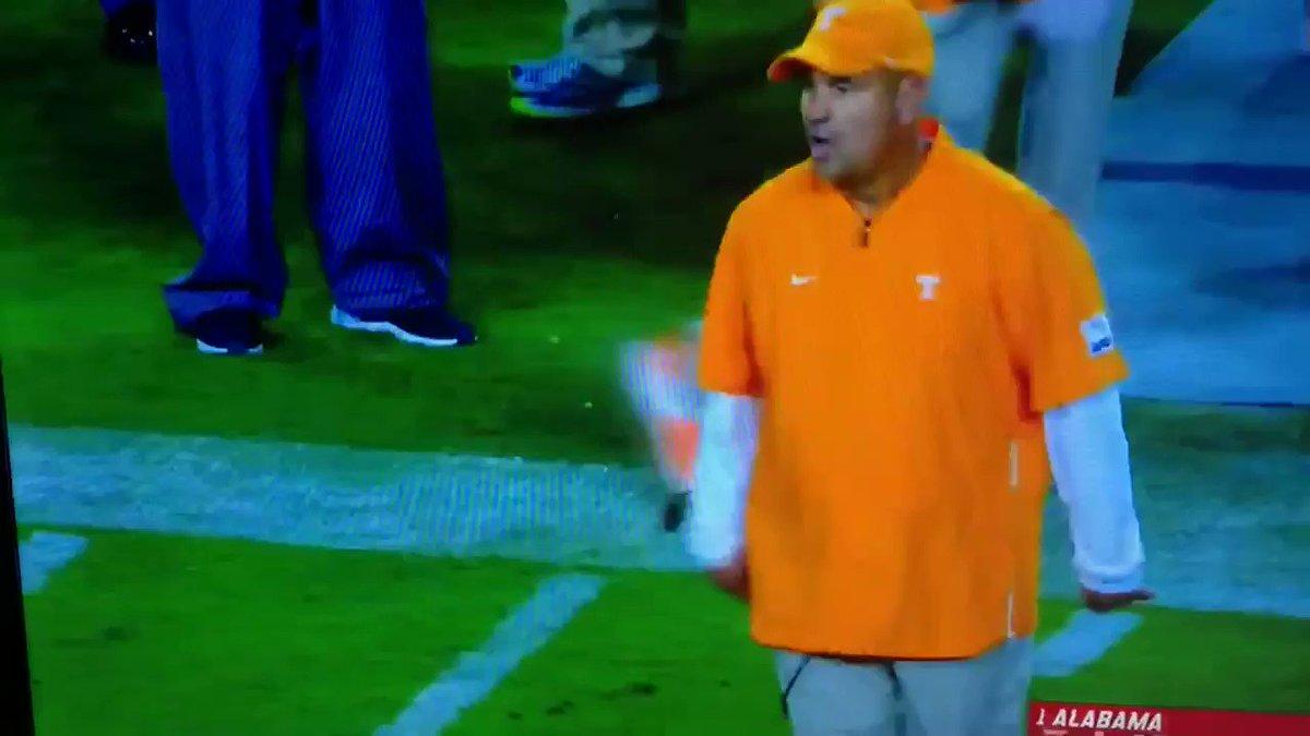 Jeremy Pruitt Grabs His Quarterback's Facemask In Frustration vs. Alabama