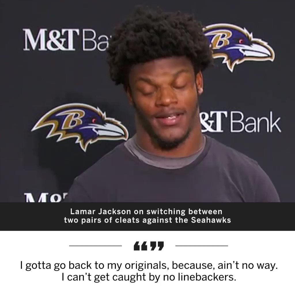 Lamar Jackson changed cleats twice because he was getting caught by LBs 😂