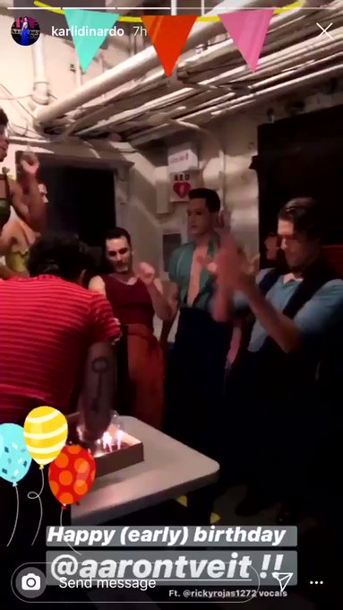 I\m glad to see that not even Aaron Tveit knows how to act when people sing Happy Birthday to him