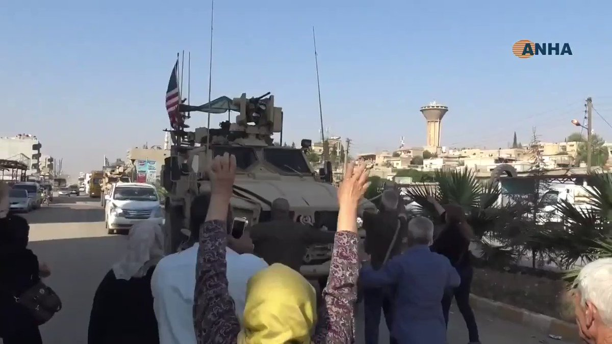 When American troops first arrived in North Syria, kurds received them as heroes with flowers and ululation. Now terrified Kurds in Syria are throwing tomatoes and stones at departing American forces. @akhbar