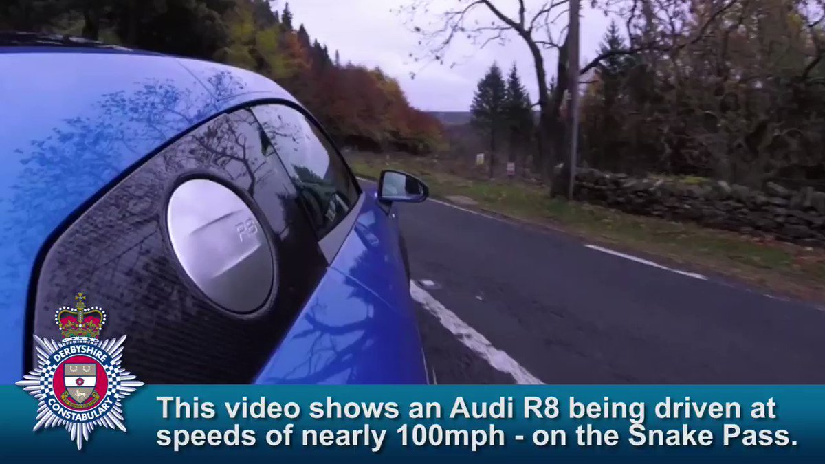 A motoring journalist who posted a video of himself driving an Audi R8 at nearly 100mph on #SnakePass - one of the most notoriously dangerous road in the UK - has been given six points and fined more than £600. #FatalFour @DerbyshireRPU @Road_SS derbyshire.police.uk/news/derbyshir…