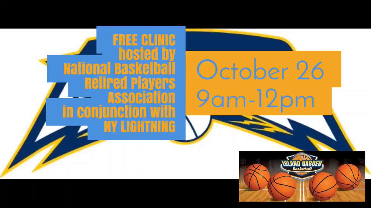 FREE CLINIC hosted by National Basketball Retired Players Association in conjunction with NY LIGHTNING Oct. 26 9am-12pm  Questions and Information, Contact: Shandue McNeill shandue@yahoo.com  #legendsofbasketball #islandgarden #lightningbb