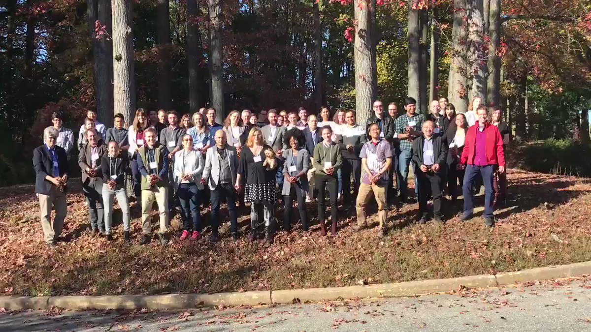 We have a tradition at #bdexocon3 to throw leaves during the conference picture. It's fall and gorgeous in Delaware in October so that's why.