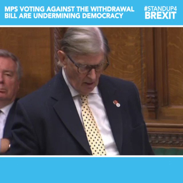 """""""These matters go to the very matter of our body politic, the birth right of our citizens, forged over centuries. The British people made a decision. We must implement it. Anyone who opposes this Bill is effectively undermining our democracy and self-government"""" @BillCashMP"""