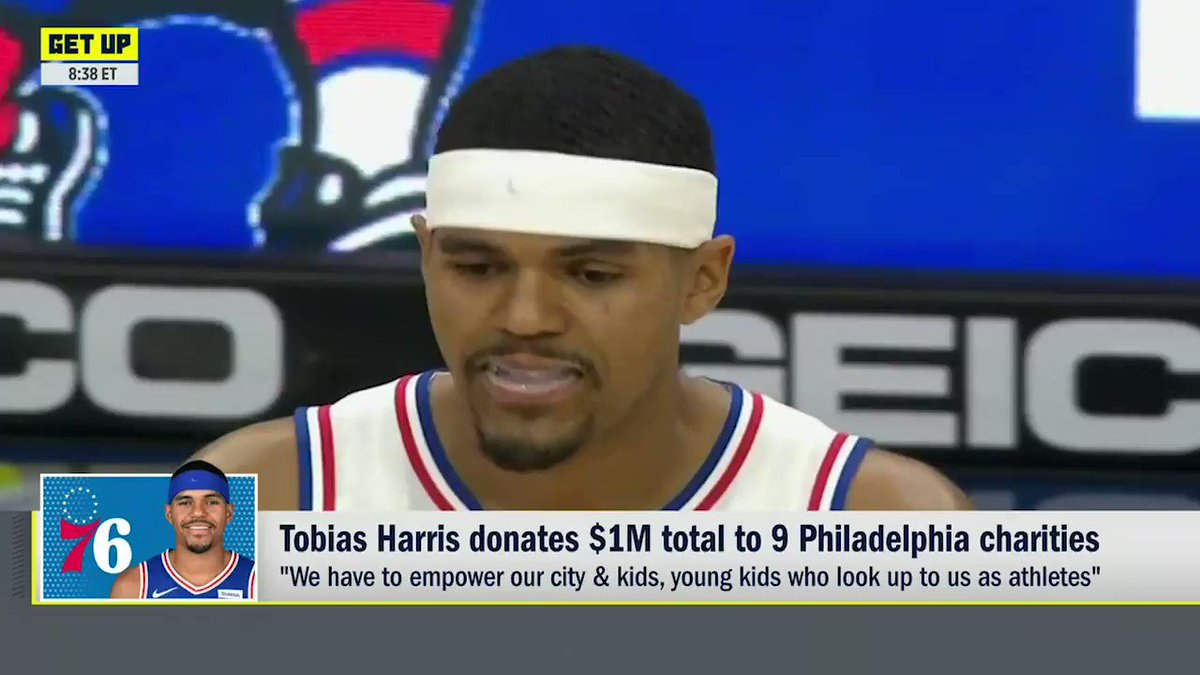"""""""We have to empower our city and kids, young kids who look up to us as athletes.""""  Tobias Harris is donating $1 million to assist underserved communities in Philly 👏  (📍@DoveMenCare)"""