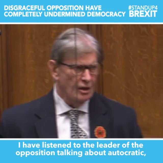 """""""The opposition are a disgrace. They have completely undermined democracy in this House... I have no compunction whatsoever in condemning the opposition for their shameless behaviour"""" @BillCashMP #StandUp4Brexit"""