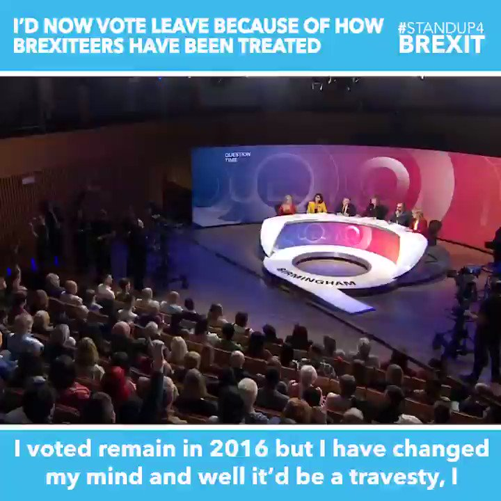 """""""I voted remain but I've changed my mind. It'd be a travesty if there was a second referendum"""" Q: Can I ask you what's made you change your mind? A: The treatment of leavers. It's really unfair that they've been smeared and labelled as fascists. It's just not right. #BBCQT"""
