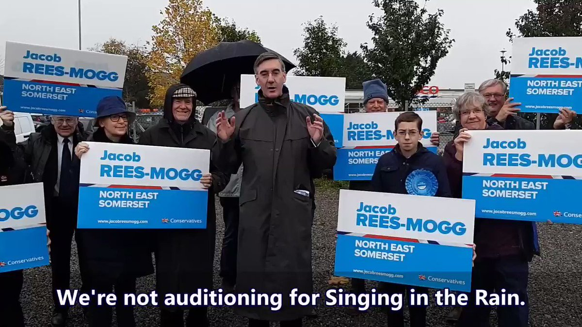 Campaigning in the rain to end the reign of the European Union. #VoteConservative on 12th December. #GetBrexitDone Could you help Jacob campaign? Get involved 👉 jacobreesmogg.com/get-involved