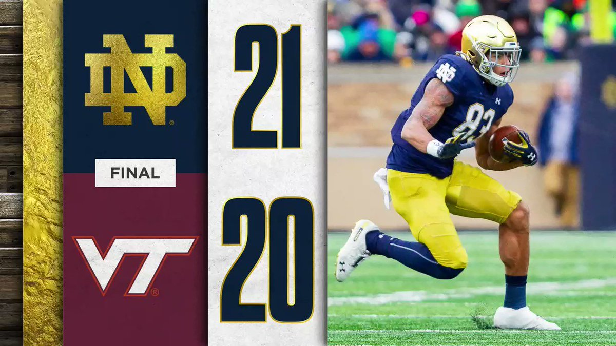 After some late-game heroics, our home winning streak moves to sixteen games. #GoIrish ☘️ #VTvsND