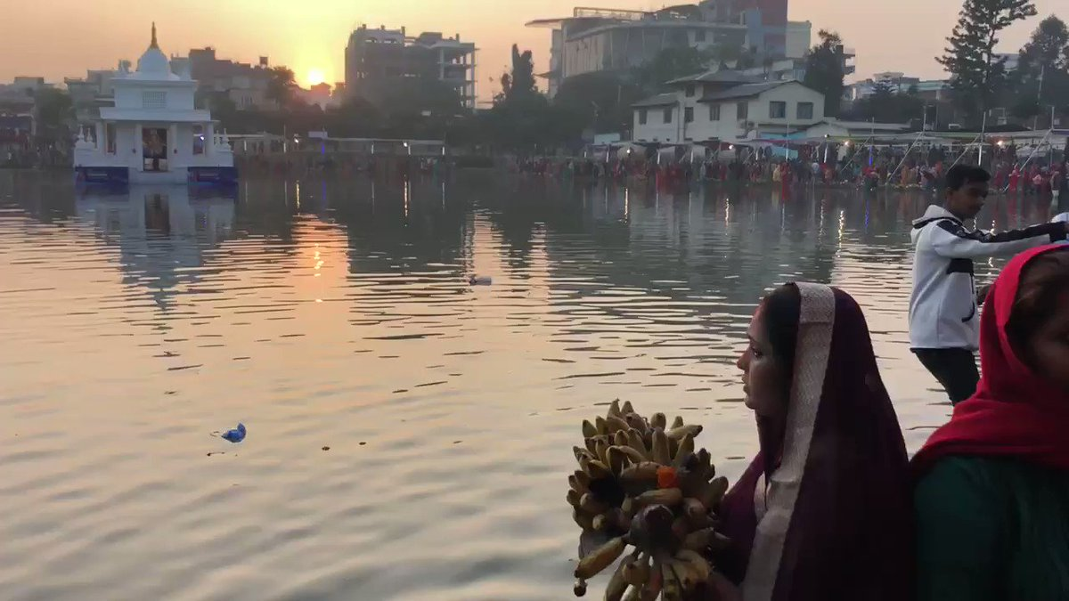 #Chhath arghya being offered at sunrise today, in Kamalpokhari, Kathmandu. A beautiful festival celebrated on the banks of a water body, to honor the sun and its sister chhati maiya. #nature #mythology #culture #heritage #madhes