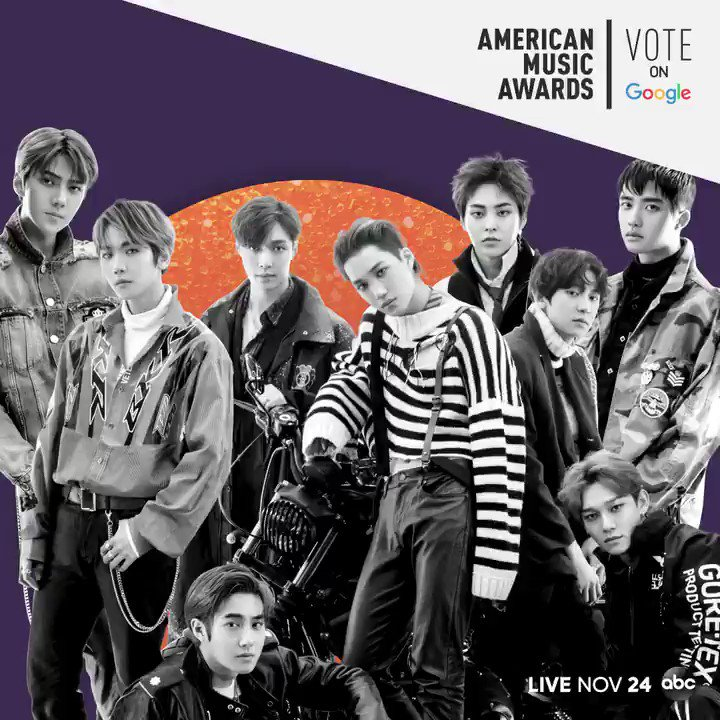 We are LOVE SHOT by @weareoneEXO! Dont miss voting them for Favorite Social Artist at this years #AMAs. Visit @Google here: goo.gle/AMAsVote