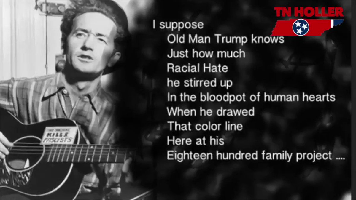 FLASHBACK: Feels like not enough people have heard WOODY GUTHRIE sing about Trump's racist landlord father, so here you go. 👇🏼 🎶 #AintMyHome   (In 1973, when Donald was President of the company, they were taken to court by the DOJ for racist landlord practices)